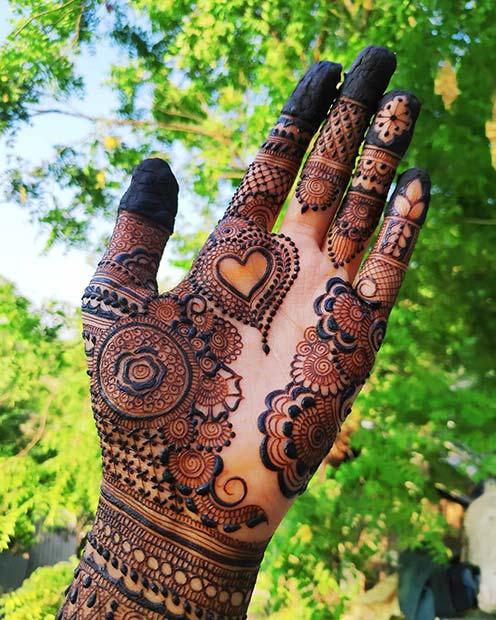Pretty Floral Henna Hand Design