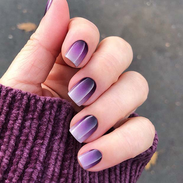Pretty Purple Gradient Nails