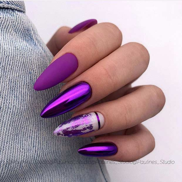 Purple Chrome Nails