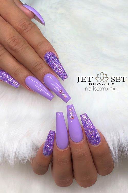 Purple Glitter Coffin Nails