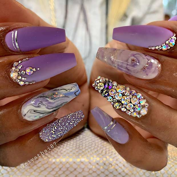 Purple Glitzy Coffin Nail Design