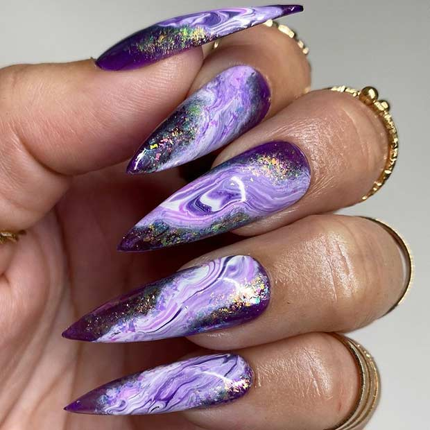 Purple Marble Stiletto Nails