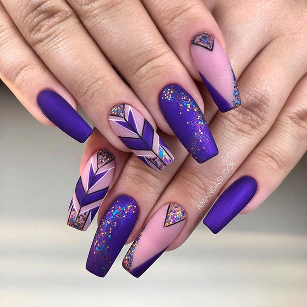 Sparkly Purple Nail Art Design