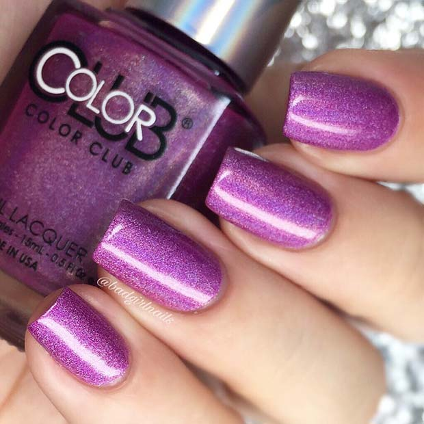 Sparkly Purple Nail Idea
