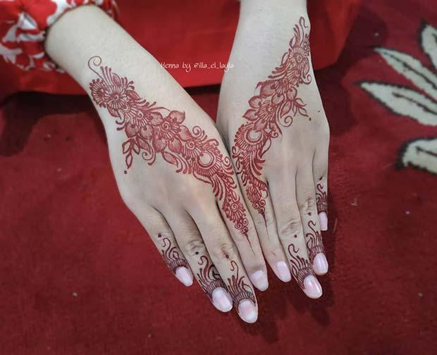 Stunning Red Floral Henna
