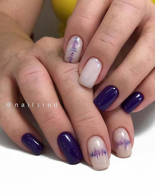 Trendy Purple and Nude Nails