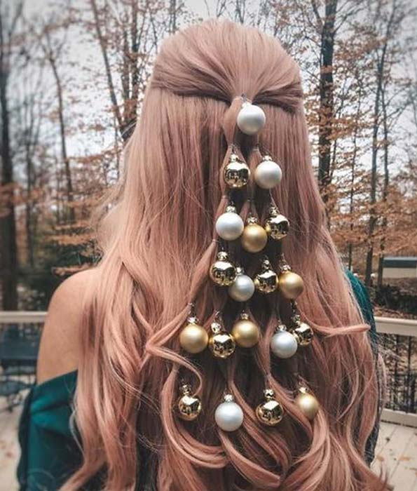 Unique Bauble Christmas Hairstyle