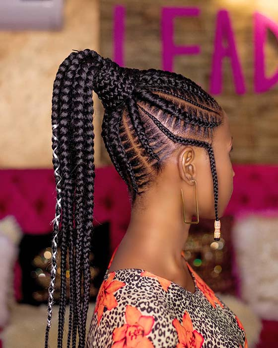Accessorized Feed In Braid Ponytail