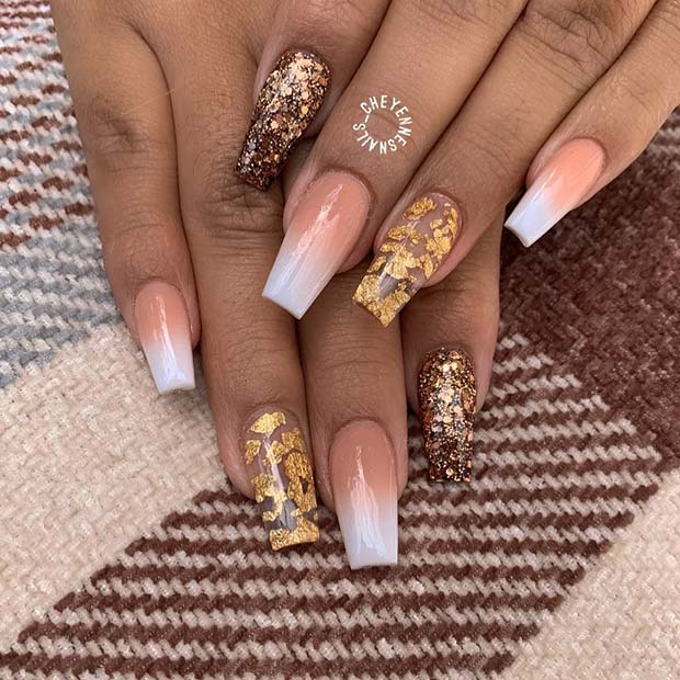 Baby Boomer Ombre, Gold Foils and Glitter