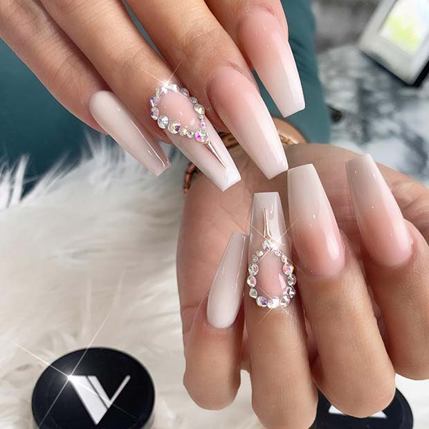 Beautiful Baby Boomer Nails with a Rhinestone Accent Nail