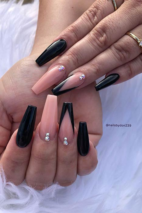 Black V Tip Nails
