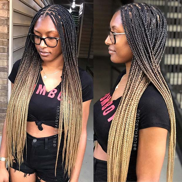 Braided Ponytail With Beads: 43 Pretty Small Box Braids Hairstyles To Try