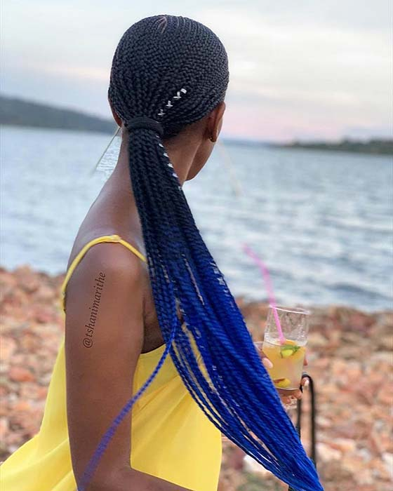 Blue Ombre Braided Ponytail
