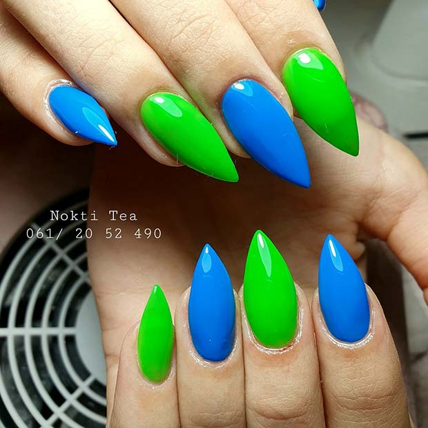 Bold Green and Blue Nails