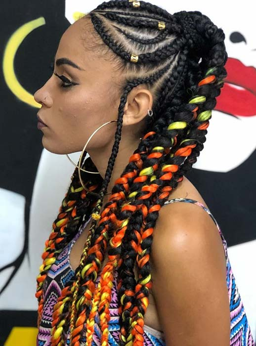 Bold Ponytail with Vibrant Colors