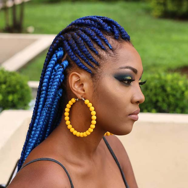 Bold and Bright Blue Feed in Braids