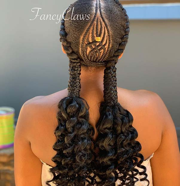 Braided Pigtails with Curls