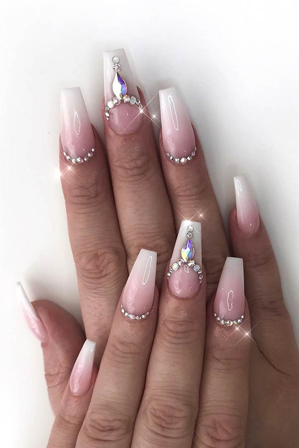 Bridal Ombre Nails with Rhinestones