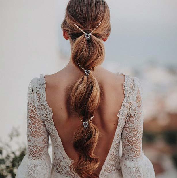 Elegant Bubble Ponytail for Brides
