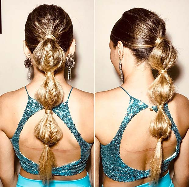 Bubble Ponytail with Braids