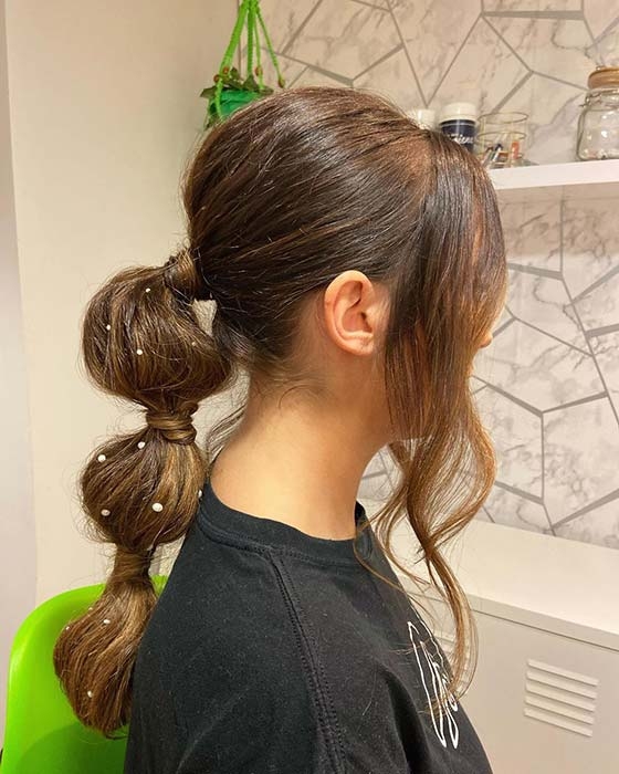 Bubble Ponytail with Pearls