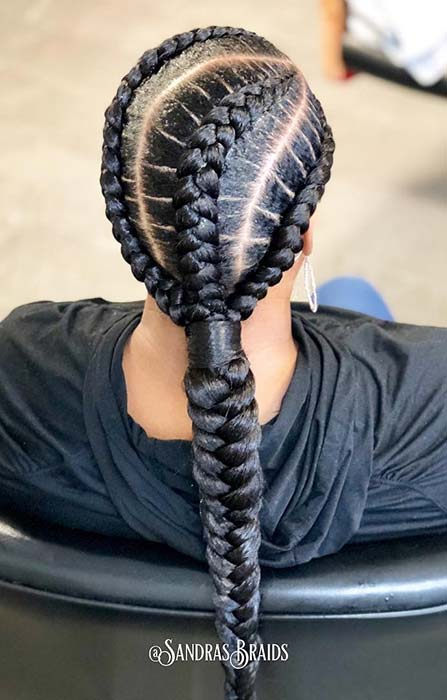 Chunky Feed In Braid Ponytail