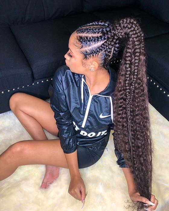 Chunky Feed In Ponytail with Curls