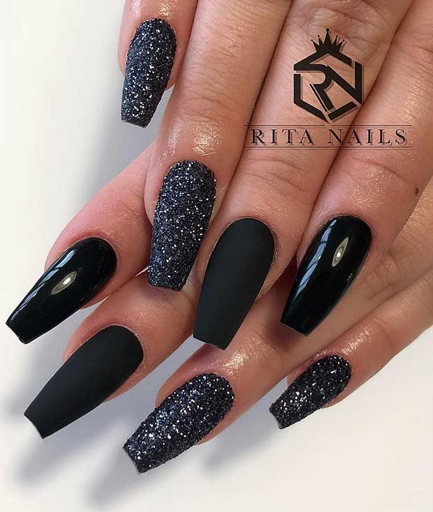 Easy Black Coffin Nail Design