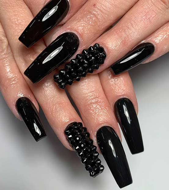 Edgy Black Nails