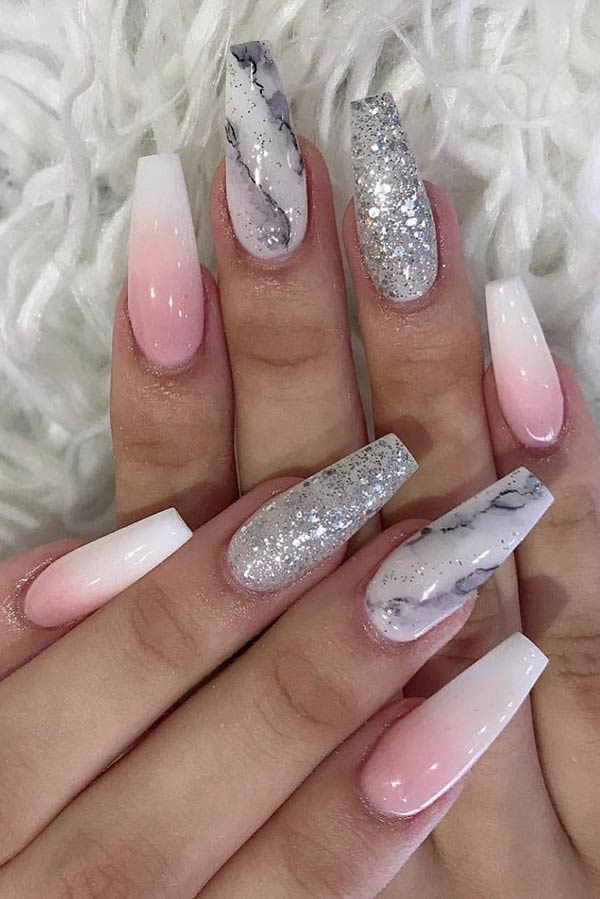 Elegant Marble and Ombre Nail Design