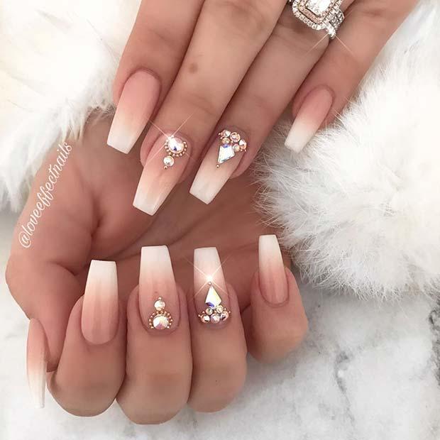 Elegant Nails with Rhinestones