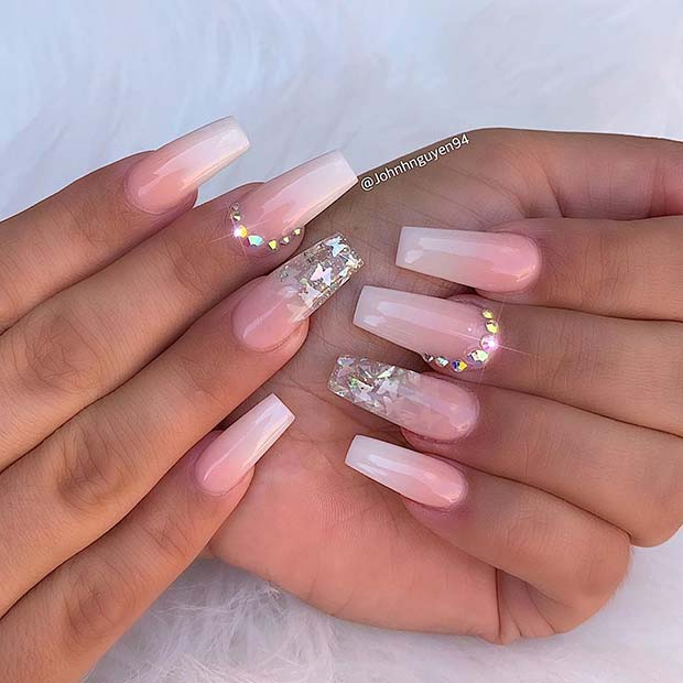 Elegant Ombre Nails with Butterflies