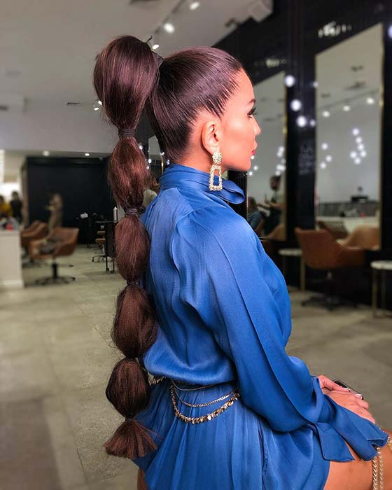 Glam and Long Bubble Ponytail