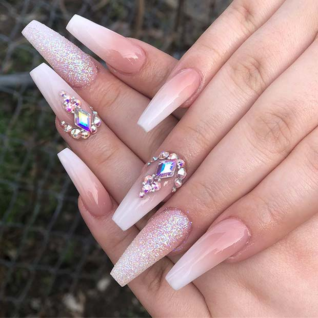 Glitter and Baby Boomer Ombre Nails