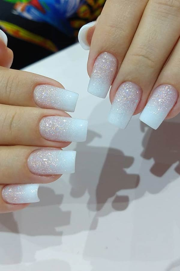 Glittery French Ombre Nails