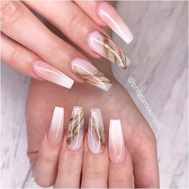 Gold Marble Nail Art