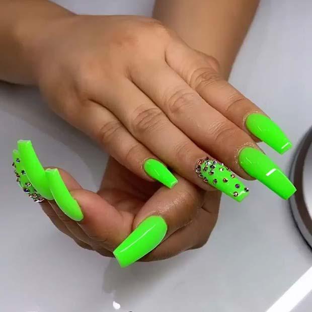 Green and Rhinestone Nail Design