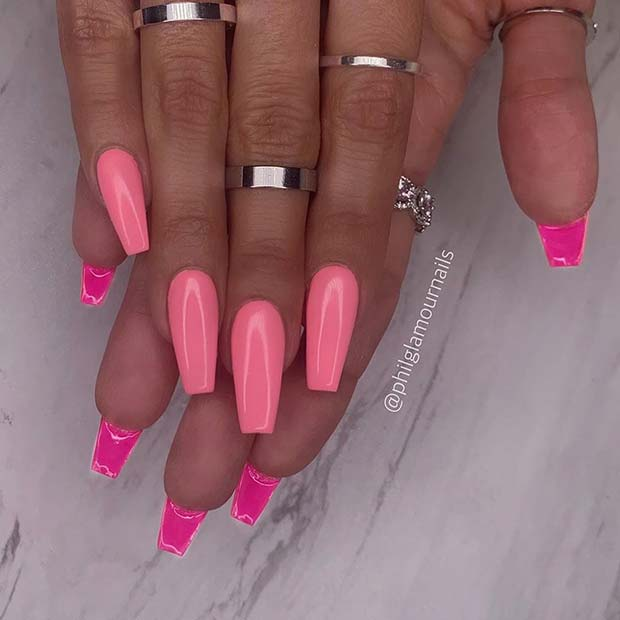 Light Pink Nails with Dark Pink Backs