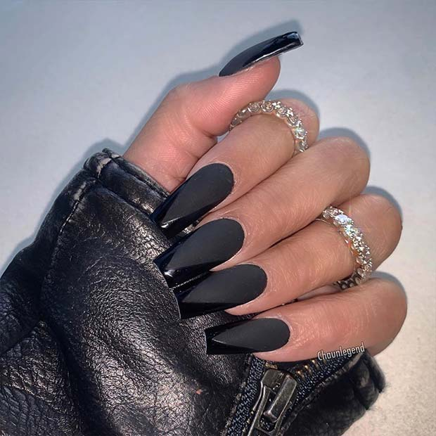 Matte Black Acrylic Nails with Glossy Tips