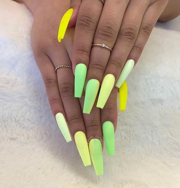 Long Matte Neon Nails