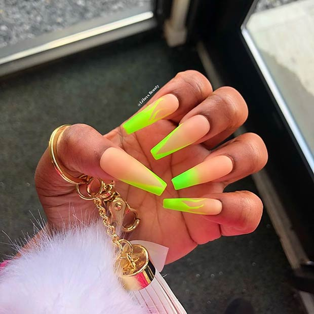 Neon Green Flame Nails