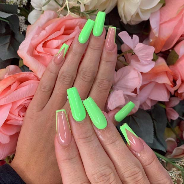 Neon Green Nails with Stylish Tips
