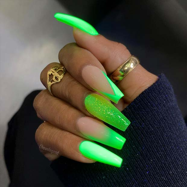 Neon Green and Glitter Nails