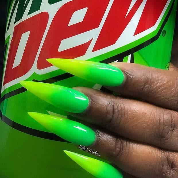 Neon Ombre Stiletto Nails