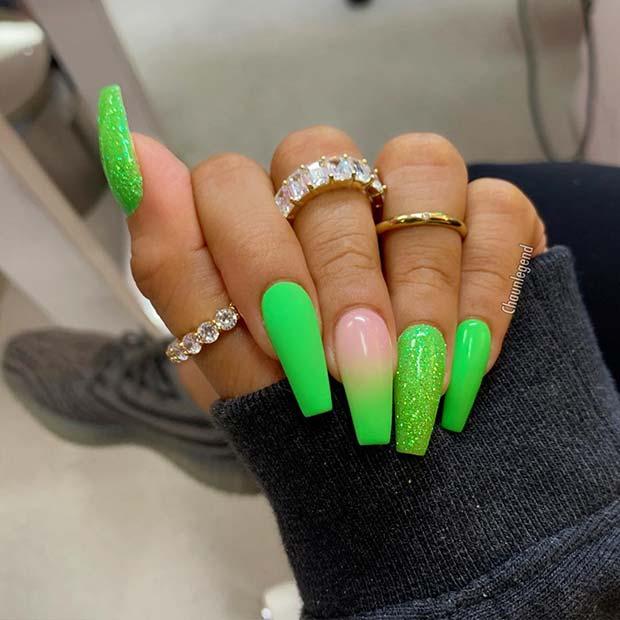 Pretty Green Coffin Nails