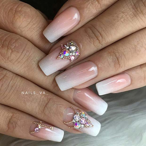 Ombre Nails with Beautiful Rhinestones