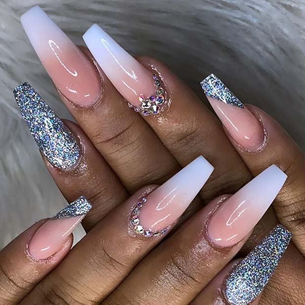 Ombre and Silver Glitter Coffin Nails