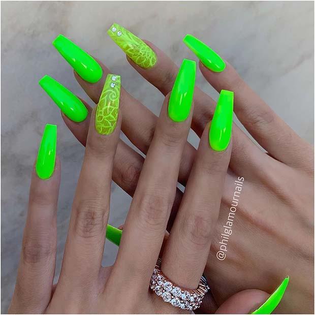 Pretty Neon Coffin Nails