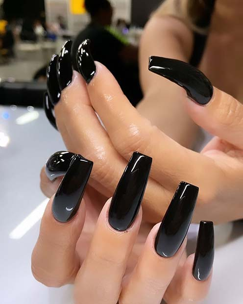 Simple Black Acrylic Nails