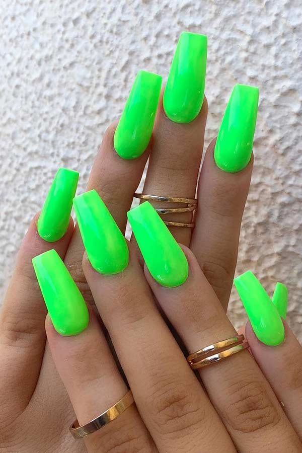 Simple Neon Green Nails